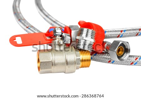 Plumbing fitting, tap and hosepipe, isolated on white background - stock photo