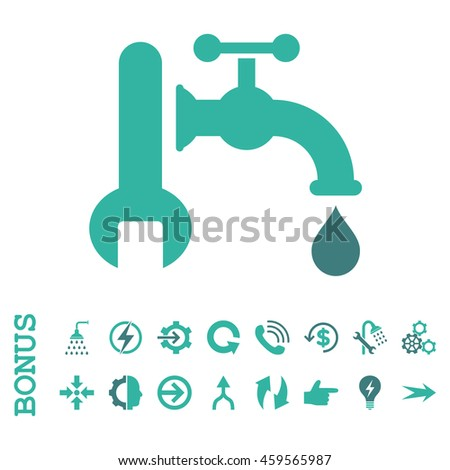 Plumbing glyph bicolor icon. Image style is a flat iconic symbol, cobalt and cyan colors, white background.