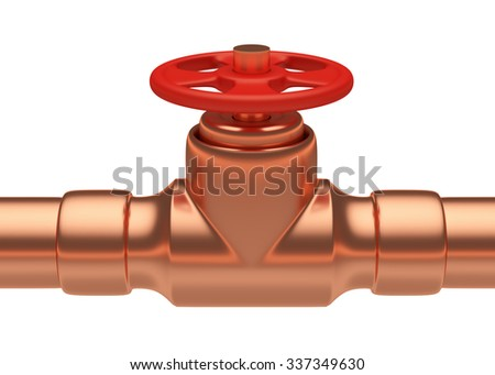 Plumbing or gas pipeline industrial metal construction: red valve on copper pipe of copper pipeline isolated on white background, industrial 3D illustration - stock photo