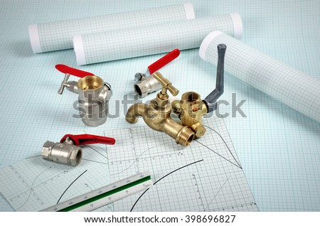 Plumbing parts on graph paper