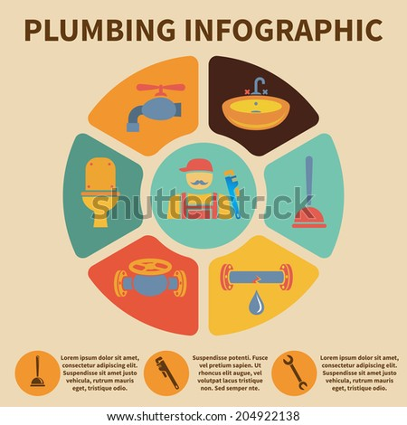 Plumbing service infographic icons set pith pie chart  illustration - stock photo