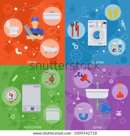Plumbing Service Installation, Repair and Cleaning Banners with Plumber, Tools and Device Flat Icons. illustration.