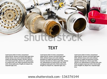 Plumbing. Space for text isolated on white background - stock photo