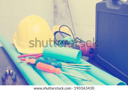 Plumbing  Tools Background,Filters Look - stock photo