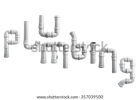 Plumbing word arranged from different PVC piping elements shot on white - stock photo