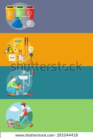 Plumbing work. Sanitary works. Plumber and wrench. Man moves with lawnmower, mows green grass. Garbage and recycling cans collection. Electrical work. Socket with devices on banners. Raster version - stock photo