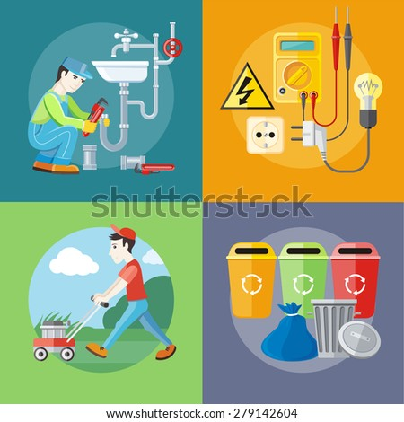 Plumbing work. Sanitary works. Plumber and wrench. Man moves with lawnmower, mows green grass near house. Garbage and recycling cans collection. Electrical work. Socket with devices Raster version - stock photo