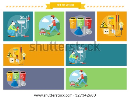 Plumbing work. Sanitary works. Plumber and wrench. Man moves with lawnmower, mows green grass near house. Garbage and recycling cans collection. Electrical work. Socket with devices. Raster version - stock photo