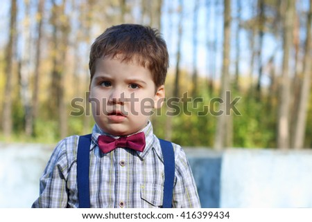Plump little boy in shirt and bow tie looks at camera in sunny green park - stock photo