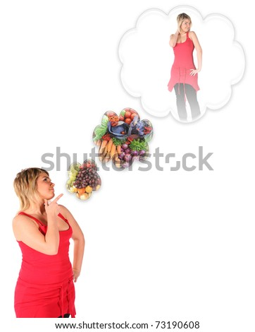 plumpy young girl thinking about slim body with vegetable diet collage - stock photo