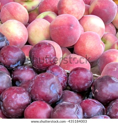 Plums and peaches on bazaar in Tel Aviv, Israel