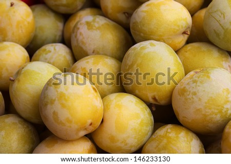Plums at the Santa Barbara Farmer's Market - stock photo