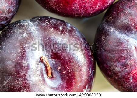 Plums close up macro - stock photo