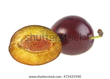 Plums fruit isolated on a white background
