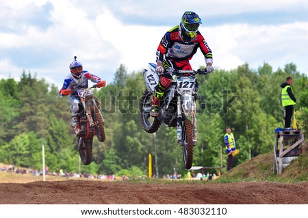 PLUNGE,LITHUANIA-JUNE 12:Unidentified motorcyclist in action in Lithuanian Open Motocross Championship 2016 first roundon June 12,2016 in Plunge, Lithuania.