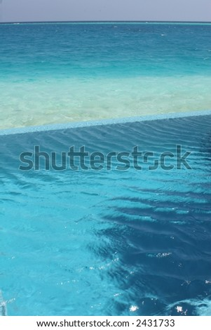 Plunge Pool and Ocean - stock photo