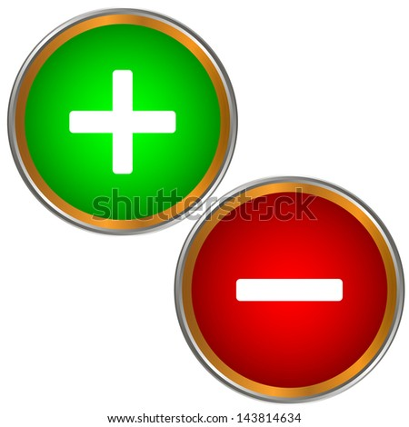 Plus and minus buttons on a white background - stock photo
