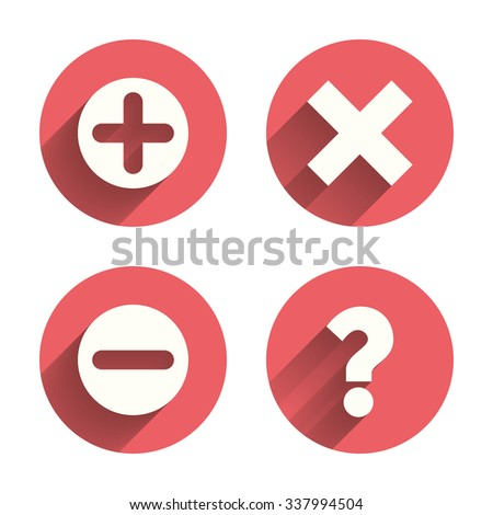 Plus and minus icons. Delete and question FAQ mark signs. Enlarge zoom symbol. Pink circles flat buttons with shadow.