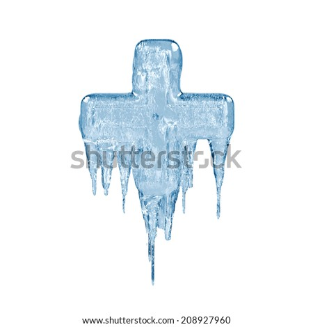 Plus. Ice font isolated on white background. Alphabet. - stock photo