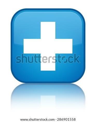 Plus icon cyan blue square button - stock photo