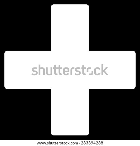 Plus icon from Basic Plain Icon Set. Style: flat symbol icon, white color, rounded angles, black background. - stock photo