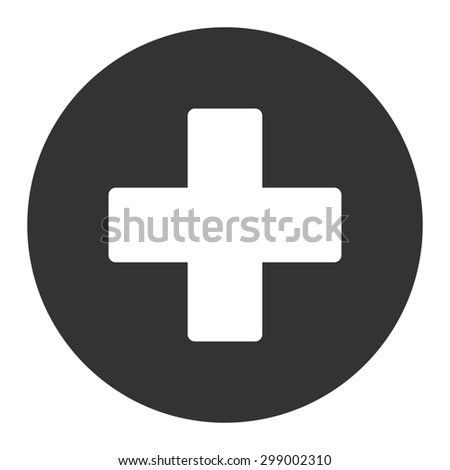 Plus icon from Primitive Round Buttons OverColor Set. This round flat button is drawn with white and gray colors on a white background. - stock photo