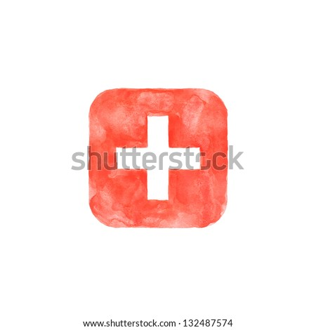 Plus icon red button with medical sign. Isolated rounded square shape on white background created in watercolor handmade technique. Colored web design element UI user interface - stock photo