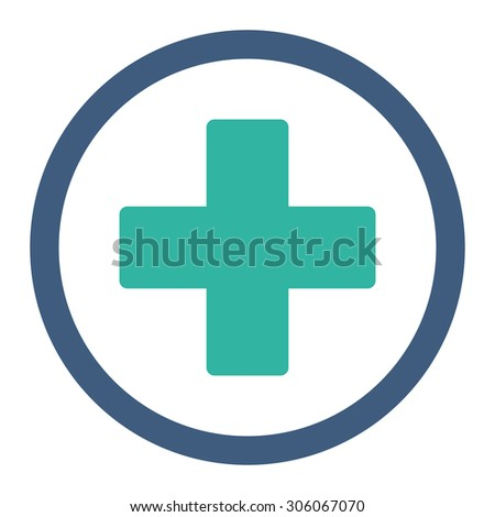 Plus raster icon. This rounded flat symbol is drawn with cobalt and cyan colors on a white background. - stock photo