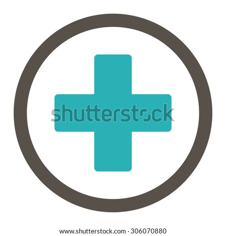 Plus raster icon. This rounded flat symbol is drawn with grey and cyan colors on a white background. - stock photo