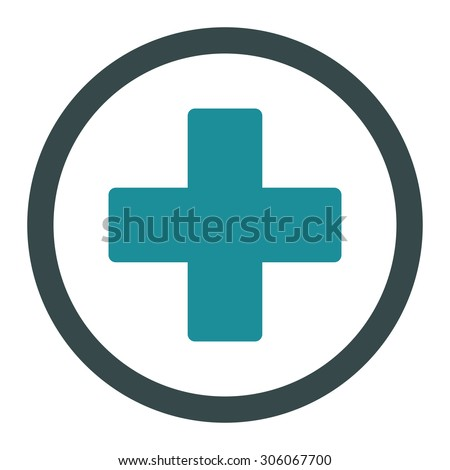 Plus raster icon. This rounded flat symbol is drawn with soft blue colors on a white background. - stock photo