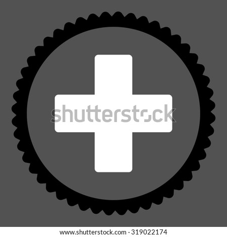 Plus round stamp icon. This flat glyph symbol is drawn with black and white colors on a gray background. - stock photo