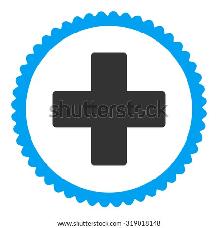Plus round stamp icon. This flat glyph symbol is drawn with blue and gray colors on a white background. - stock photo