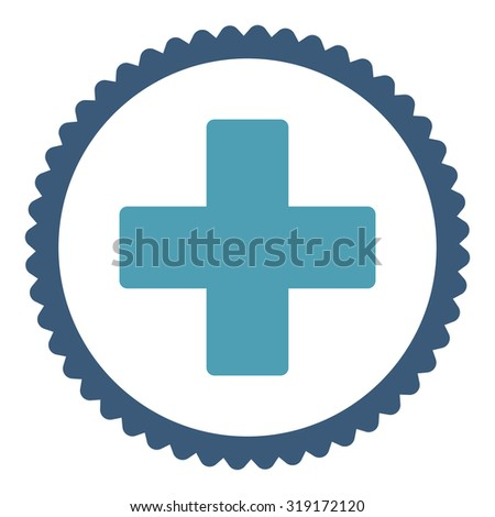 Plus round stamp icon. This flat glyph symbol is drawn with cyan and blue colors on a white background. - stock photo