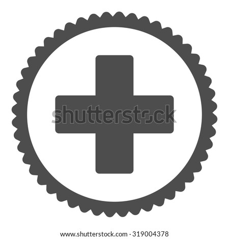 Plus round stamp icon. This flat glyph symbol is drawn with gray color on a white background. - stock photo