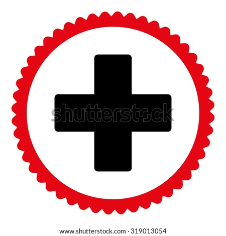 Plus round stamp icon. This flat glyph symbol is drawn with intensive red and black colors on a white background. - stock photo