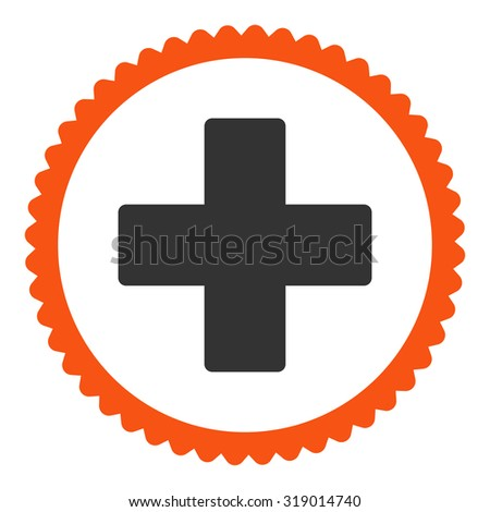 Plus round stamp icon. This flat glyph symbol is drawn with orange and gray colors on a white background. - stock photo