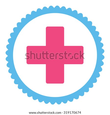 Plus round stamp icon. This flat glyph symbol is drawn with pink and blue colors on a white background. - stock photo