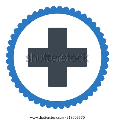 Plus round stamp icon. This flat glyph symbol is drawn with smooth blue colors on a white background. - stock photo