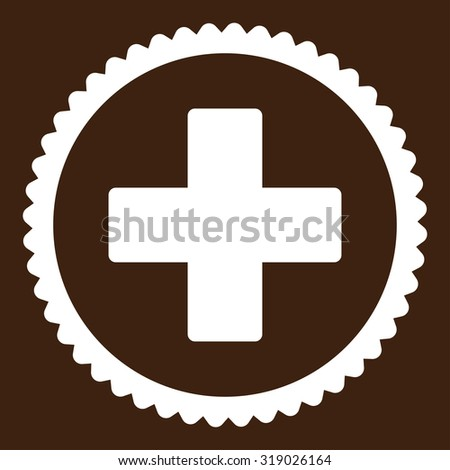 Plus round stamp icon. This flat glyph symbol is drawn with white color on a brown background. - stock photo