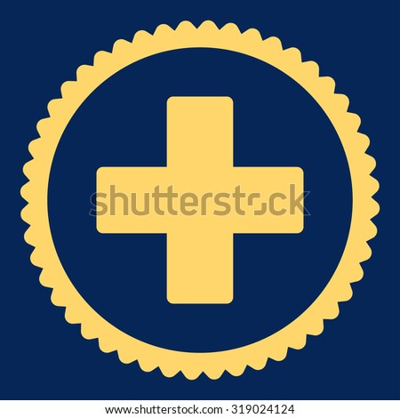 Plus round stamp icon. This flat glyph symbol is drawn with yellow color on a blue background. - stock photo