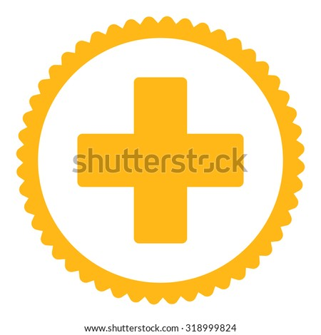 Plus round stamp icon. This flat glyph symbol is drawn with yellow color on a white background. - stock photo