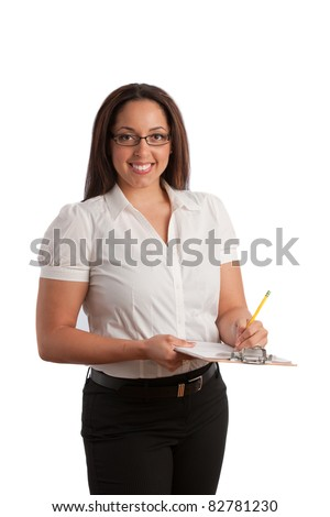 Plus Size Business Woman Writing on Clipboard Isolated on White