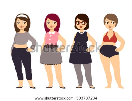 Plus size fashion. Beautiful chubby cartoon style girls wearing pretty clothes. - stock photo