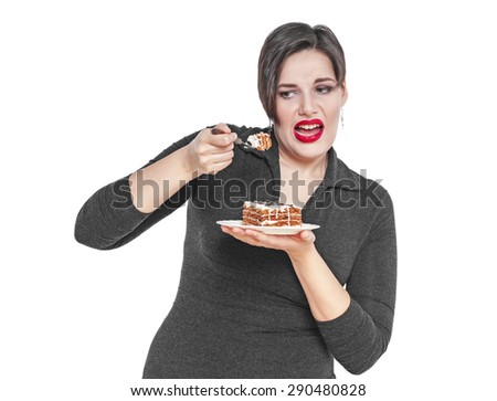 Plus size woman does not want to eat cake isolated on white background - stock photo