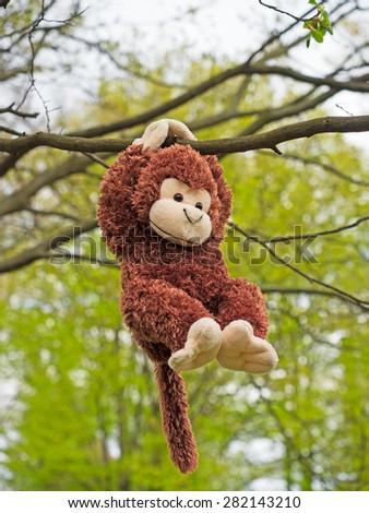 Plush Monkey in a tree - stock photo
