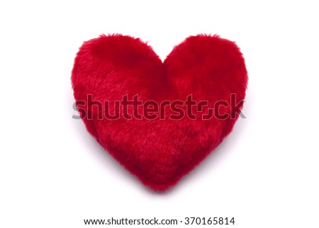Plush red heart on white background  - stock photo