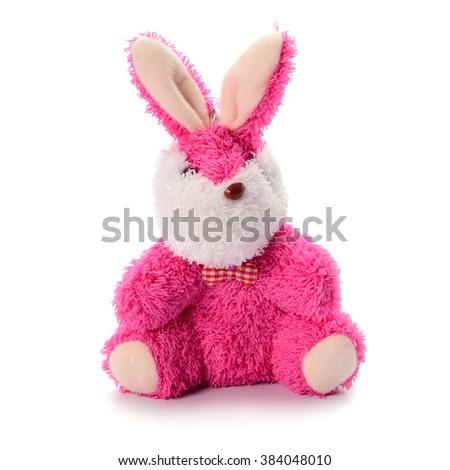 Plush toy rabbit on white background - stock photo