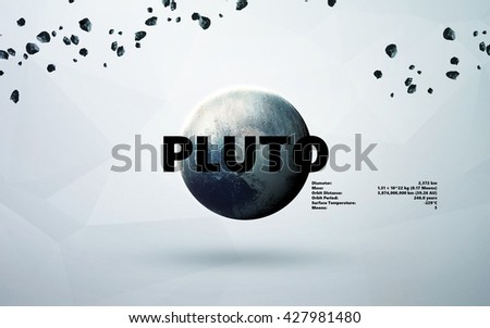 Pluto. Minimalistic style set of planets in the solar system. Elements of this image furnished by NASA - stock photo