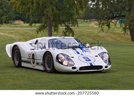 PLYMOUTH - JULY 27: A Ford GT on display July 27, 2014 at the Concours D' Elegance Plymouth, Michigan. - stock photo