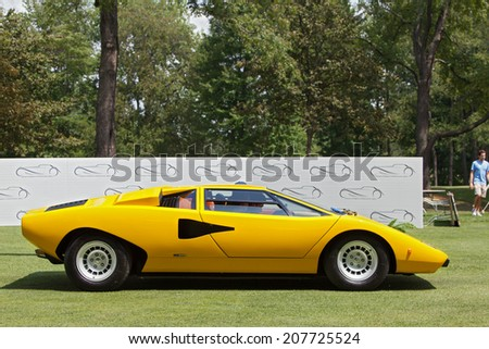 PLYMOUTH - JULY 27: A 1976 Lamborghini Countach on display July 27, 2014 at the Concours D' Elegance Plymouth, Michigan. - stock photo